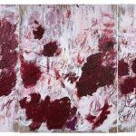 Aida Tomescu, Sewn on to stones in the sky 2019, triptych, Oil on Belgian linen, 200 x 460cm